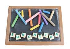 School board to chalk colored chalk . Royalty Free Stock Photos