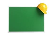 School board worker helmet blackboard Royalty Free Stock Images