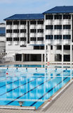 School boarding house with swimming pool stock photo