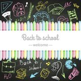 School boards and colored chalks Stock Images