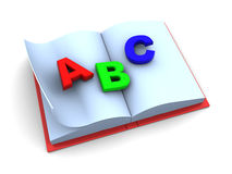 School book. 3d illustration of school book with abc on pages Stock Images