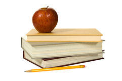 School books and apple Royalty Free Stock Photography