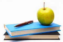 School Books and Apple Stock Images