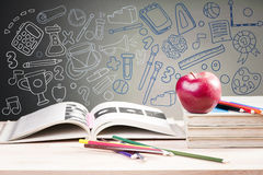 School books and apple against blackboard. Communication collage with icons on background.Vector illustration stock image