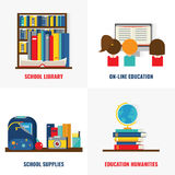 School Books Colorful Compositions. With library and online training educational supplies and humanities  vector illustration Stock Photography