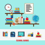 School Books Concept. With educational accessories on brown shelves and set of learning icons isolated vector illustration Royalty Free Stock Photos
