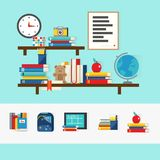School Books Concept. With educational accessories on brown shelves and set of learning icons  vector illustration Stock Images