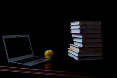 School books on desk, education concept, educate, technology, cat, splash Royalty Free Stock Photography