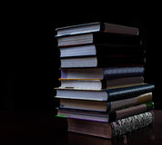 School books on desk, education concept, educate, technology, cat, splash Royalty Free Stock Images