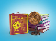 School books on geography 3d render on gradient Stock Photography