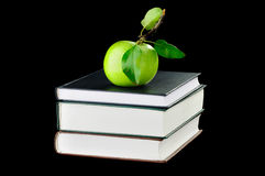 School Books and green apple Stock Photo