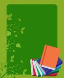 School books on green board background Stock Photography