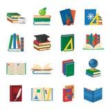 School Books Icons Set Stock Photo
