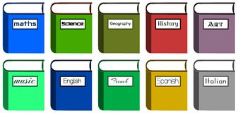 School books. Image representing a set of colorful school books with the name of some school subjects vector illustration