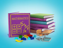 School books on mathematics 3d render on gradient Stock Photos