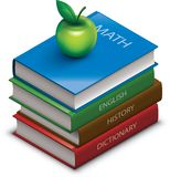 School books. A stack of books with an apple on top. Isometric view Stock Illustration