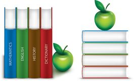 School books. Stacks of school books with apple Vector Illustration