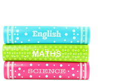 School books in white background Stock Photo