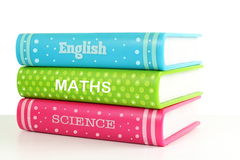 School books in white background Stock Photos