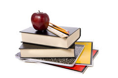 School Books With Apple Royalty Free Stock Images