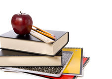 School Books With Apple Stock Photography