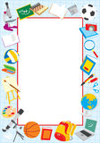 School border. Vector frame with school objects, on a white background Royalty Free Stock Images