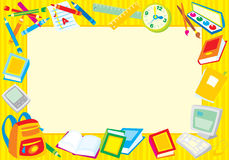 School border. Colorful border (frame) with the school objects Royalty Free Stock Photos