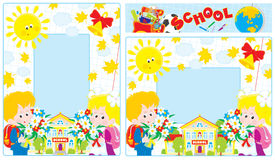 School borders. Photo frames with school and first graders holding bouquets of flowers Royalty Free Stock Images