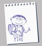 School boy. Vector boy with school bag Stock Photos