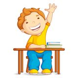 School Boy. Vector illustration of school boy sitting on table Stock Photo