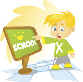 School Boy. An illustrated background of a blond school boy pointing at a wooden school board Stock Image