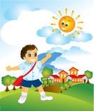 School Boy. Illustration of a boy walking to school at the early morning Royalty Free Stock Photo