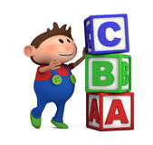 School boy with ABC cubes. School boy stacking ABC blocks on top of each other - high quality 3d illustration Stock Images