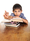 School boy arm up asking attention Stock Image