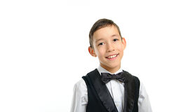 School boy in black suit isolated on white Stock Images