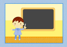 School boy with blackboard. Cute card with smiling school boy wearing his blue pinafore ready to write on the blackboard in primary school Royalty Free Stock Photos
