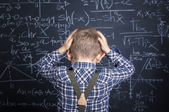 School boy and blackboard Royalty Free Stock Images