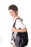 School boy with book bag. Shot of a school boy with book bag Stock Photo