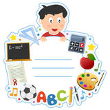 School Boy Book Cover Frame Royalty Free Stock Photo