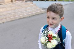 A school boy with a bouquet of white roses in his hand outdoor royalty free stock photo