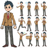 School boy Brown Blazer in hand painted Stock Images