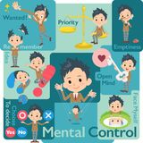 School boy Brown Blazer_Mental & volition. Set of various poses of school boy Brown Blazer_Mental & volition vector illustration