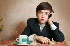 School boy in businessman suit Royalty Free Stock Image