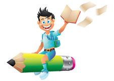 School boy cartoon character riding pencil, holding book Royalty Free Stock Photography