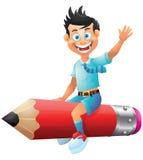 School boy cartoon character riding pencil Stock Images