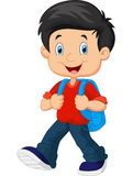 School boy cartoon walking Royalty Free Stock Photo