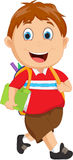School boy cartoon walking. Vector illustration of School boy cartoon walking isolated on white Stock Photo
