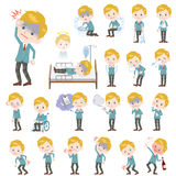School boy Caucasian About the sickness. Set of various poses of School boy Caucasian About the sickness Stock Photography