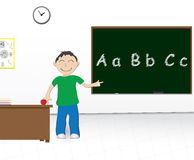School boy chalkboard. Cartoon illustration of a boy at school pointing at a chalkboard Royalty Free Stock Image