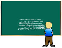 School boy in detention. Young boy standing at chalkboard writing lines - I will not bring weapons to school - vector Royalty Free Stock Photography